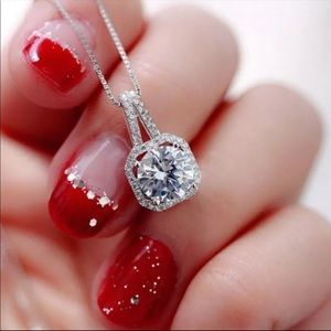 Square Rhinestone Crystal Zircon Pendant Necklace